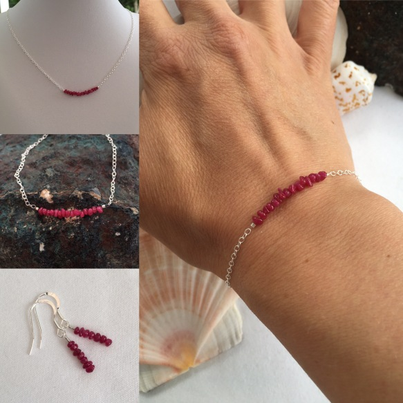 Tiny genuine Ruby nugget bracelet with Sterling silver, for July birthdays. Birthstone jewellery makes a great gift. I make birthstone jewellery for each month of the year with genuine gemstone beads.