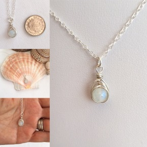 Tiny Moonstone pendant with Sterling silver.