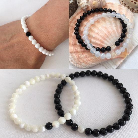 Black and white couple's bracelets