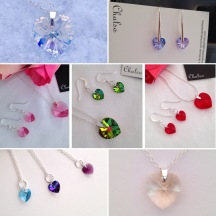 My shop contains a colourful variety of Swarovski hearts in different colours and sizes, on earrings, bracelets and necklaces.