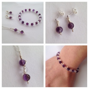 Amethyst and clear crystal Quartz jewellery set. The pendant and earrings are wrapped with a twirl of silver wire.
