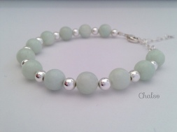 Pale Amazonite bracelet with Sterling silver