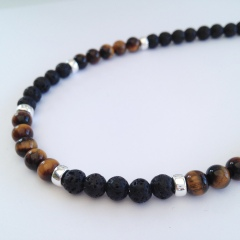 Men's necklace with Lava, Tigers eye and Sterling silver.