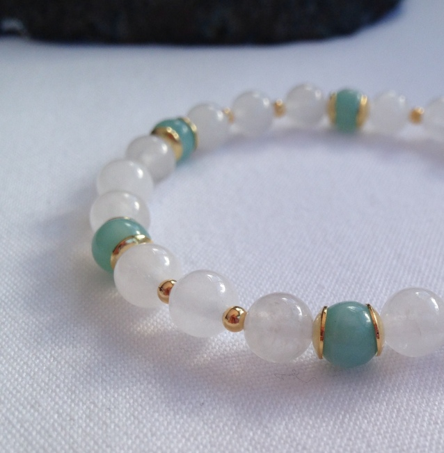 White Jade and Amazonite with Gold accents