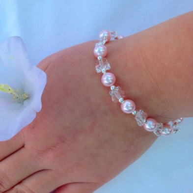 Bridesmaid bracelet with Swarovski crystal butterflies, Rosaline Swarovski pearls and Sterling silver