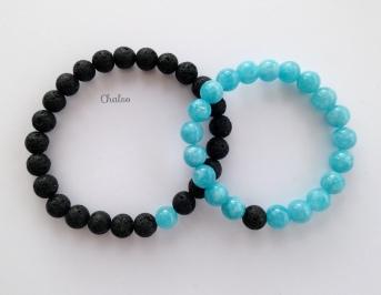 Lava and Aquamarine couples bracelets.