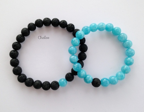 Lava and Aquamarine couples bracelets.