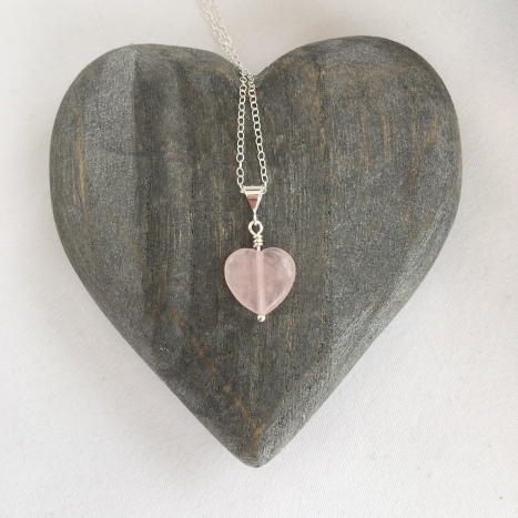 Rose Quartz heart pendant.