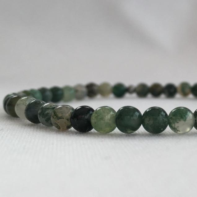 Moss Agate small bead bracelet