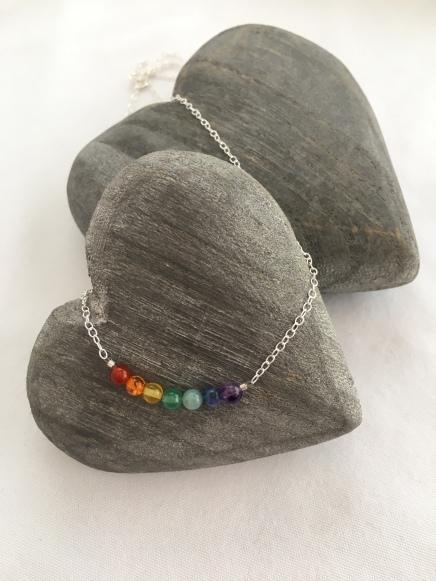 Semiprecious rainbow necklace.