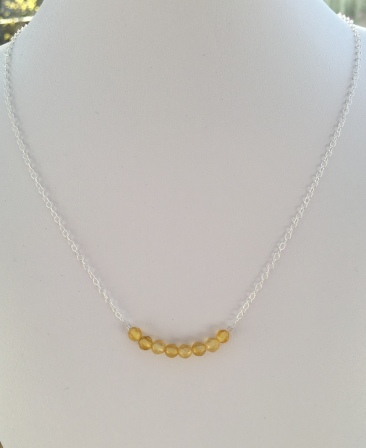 Citrine necklace with Sterling silver for November birthdays.
