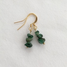 Raw Emerald, gold plated earrings.
