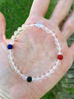 Chalso Balance bracelet with the four elements connected by clear crystal Quartz, representing Spirit.