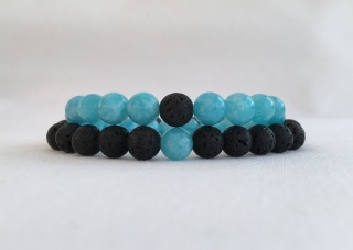 Aquamarine and Lava couple's bracelets.