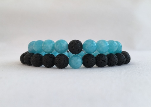 Aquamarine and Lava couple's bracelets.