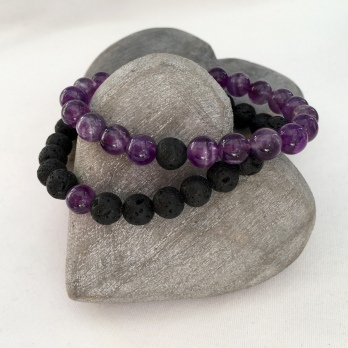 Amethyst and Lava couple's bracelets.