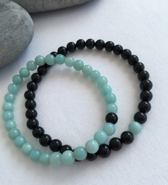 Amazonite and Onyx couple's bracelets His and Hers Lava bracelets