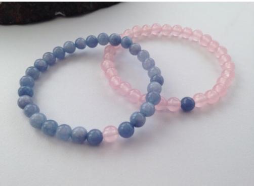 Blue and pink couple's bracelets