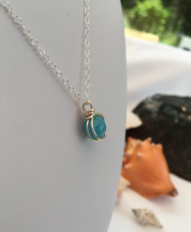 Aquamarine pendant for March birthdays. Birthstone jewellery makes a great gift. I make birthstone jewellery for each month of the year with genuine gemstone beads.