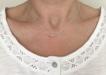 Minimal, single Rose Quartz bead necklace.