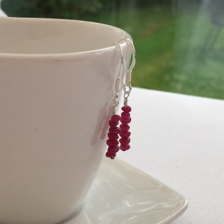 Ruby earrings with Sterling silver