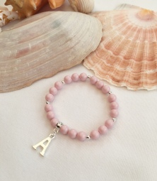 Pastel pink initial charm bracelet