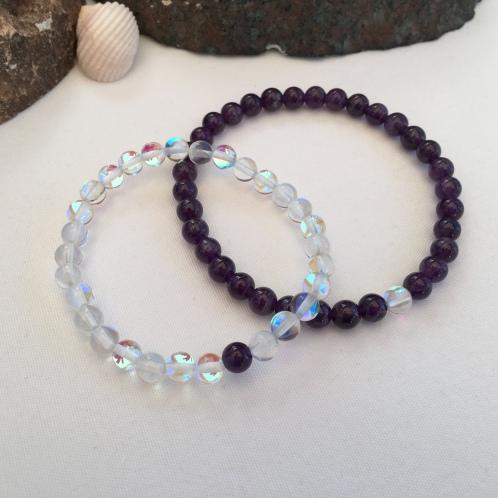 Amethyst and Quartz couple's bracelets