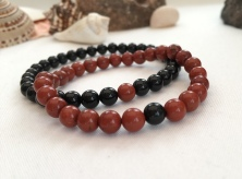 Onyx and Red Jasper couple's bracelets