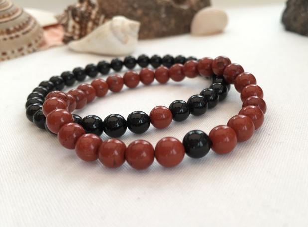 Onyx and Red Jasper couple's bracelets