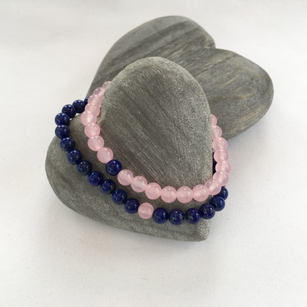 Rose Quartz and Lapis Lazuli couple's bracelets.