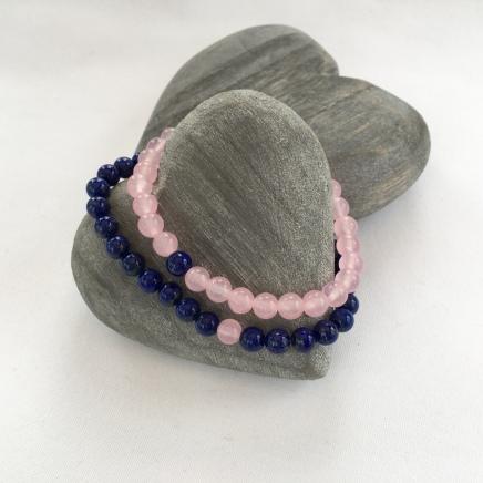Rose Quartz and Lapis Lazuli couple's bracelets.