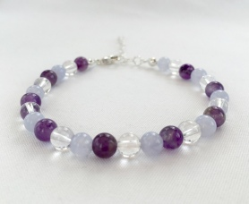 Custom request for Amethyst, Blue Lace Agate and Crystal Quartz bracelet