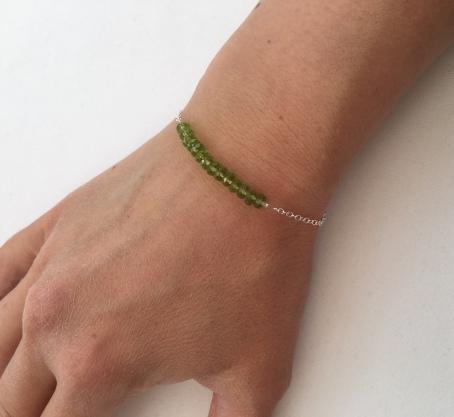 Peridot bracelet with Sterling silver.