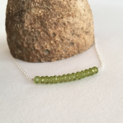 Sparkly Peridot necklace with Sterling silver. Great for an August birthday!
