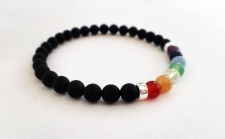 Matte black Onyx bracelet with semi precious rainbow
