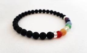 Matte black Onyx bracelet with semi precious rainbow