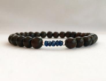 Tiger ebony and Sapphire bracelet