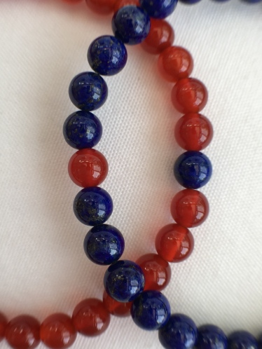 Lapis Lazuli and Carnelian couple's bracelets