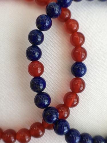 Lapis Lazuli and Carnelian couple's bracelets