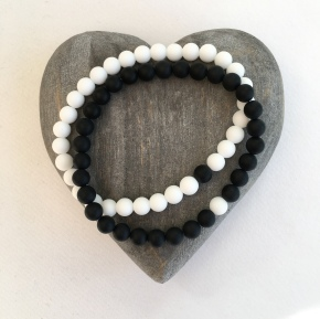 Black and White Onyx couple's bracelets.