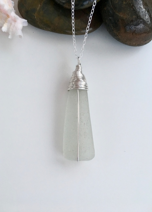 Scottish sea glass pendant with Sterling silver.