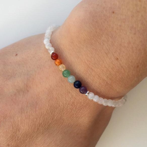 Moonstone rainbow bracelet