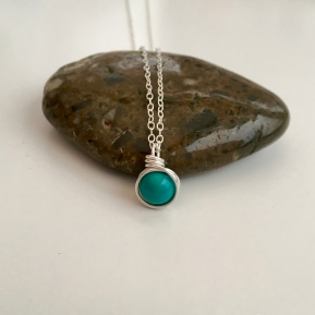 Turquoise and Sterling silver pendant for December birthdays
