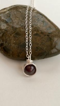Garnet pendant for January birthdays