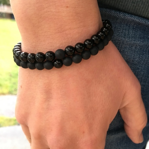Onyx bracelets with matte and polished black Onyx