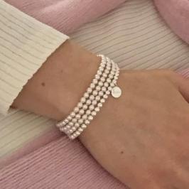 Tiny Swarovski Pearl stack with Chalso charm bracelet