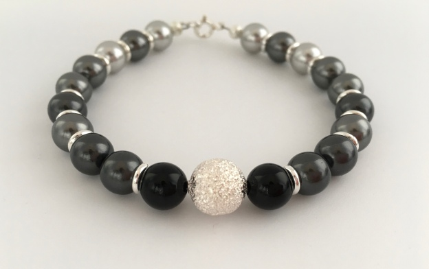Shades of Grey bracelet with Swarovski pearls