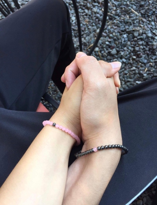 His and Hers Hematite and Rose Quartz bracelets