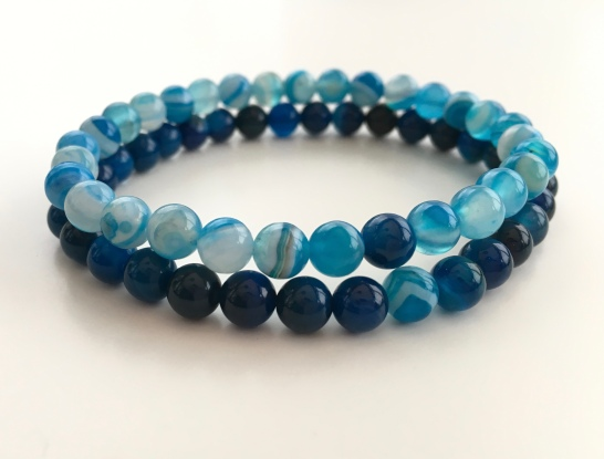Custom order for Blue Agate couples bracelets.