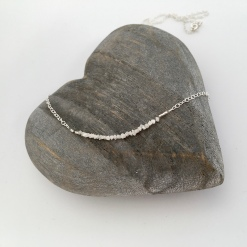 Raw Diamond necklace with Sterling silver, for April birthdays